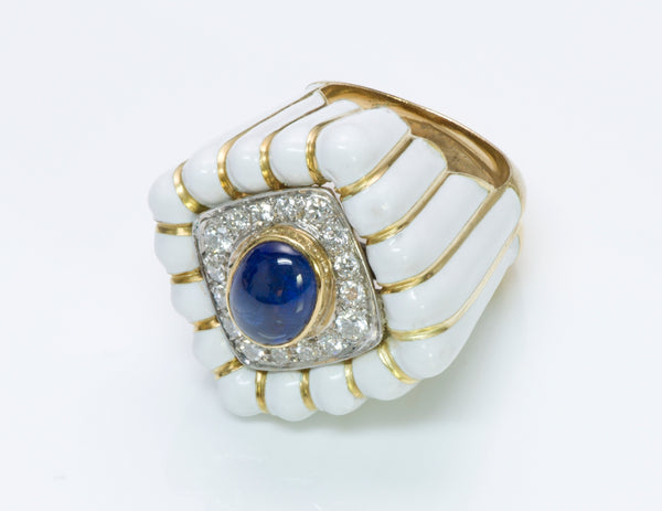 David Webb Diamond Sapphire Ring