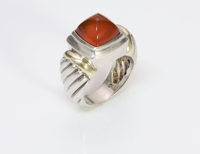 David Yurman Sugarloaf Carnelian Silver Gold Ring
