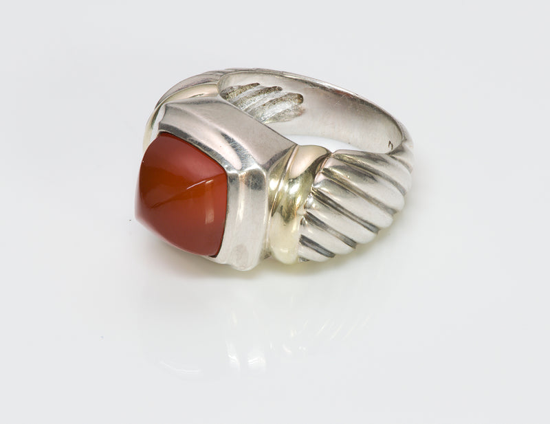 David Yurman Sugarloaf Carnelian Silver Gold Ring 3