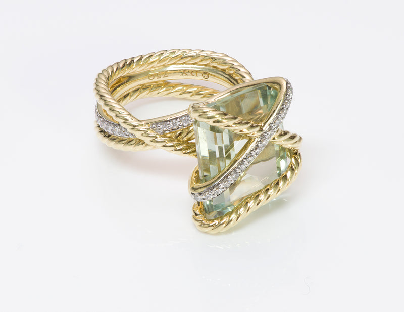 David Yurman Gold Aquamarine Diamond Ring