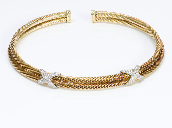 David Yurman 18K Gold Diamond Cable X Choker Necklace