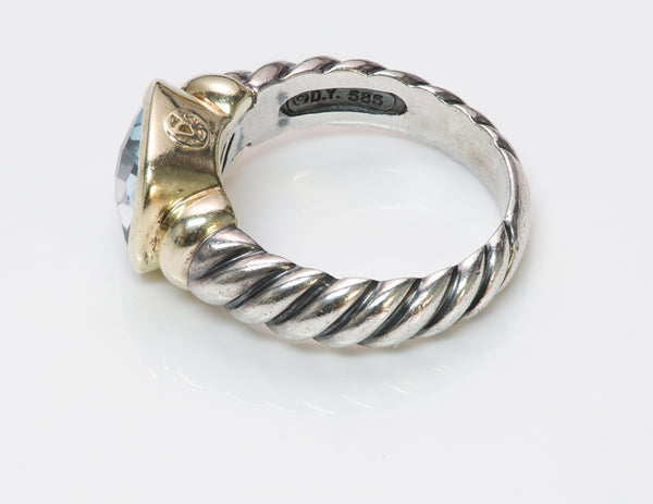 David Yurman Blue Topaz Noblesse Silver Gold Ring