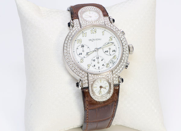 Delaneau 18K Gold 3-Time Zone Diamond Watch GTCWG