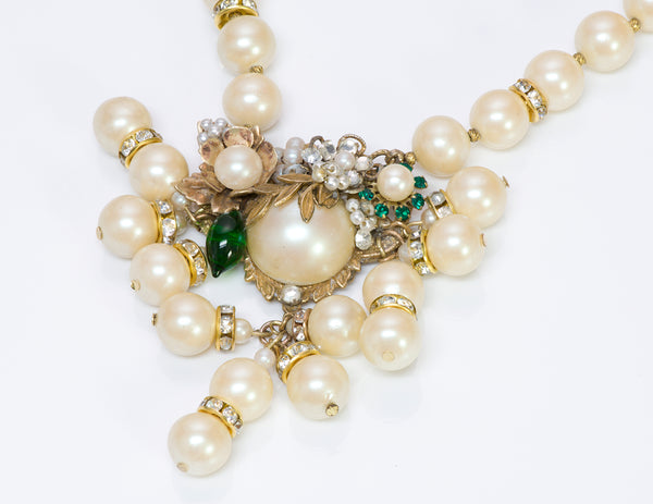 Vintage DeMario New York Pearl Crystal Necklace