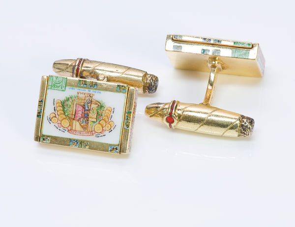 Deakin & Francis 18K Gold Cuban Cigar Cufflinks