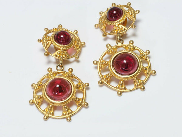 Deanna Hamro 1980's Red Poured Glass Earrings