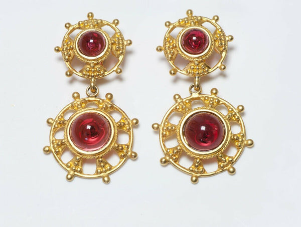 Deanna Hamro 1980's Long Red Poured Glass Earrings