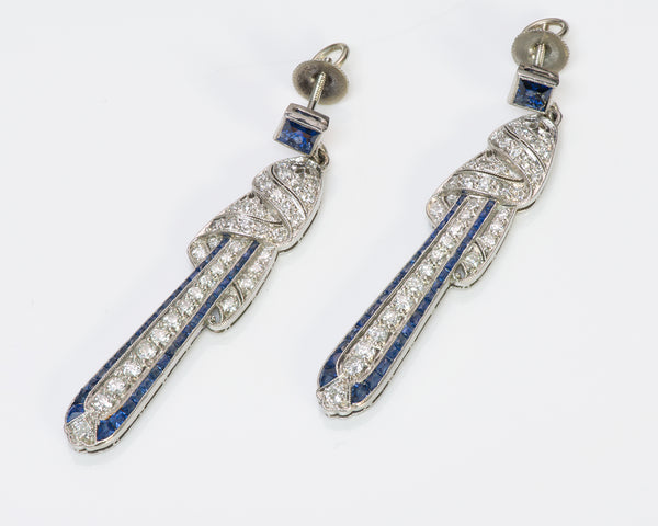 Art Deco Platinum Sapphire & Diamond Earrings