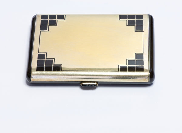 Art Deco French Gilt Silver Enamel Lipstick Compact