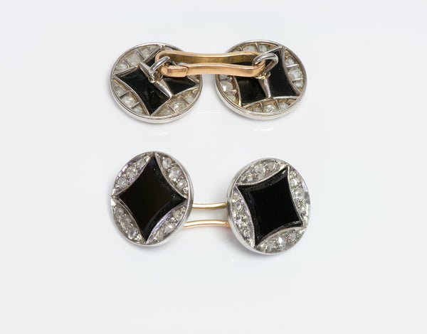 Art Deco French Platinum Fancy Cut Onyx Diamond Cufflinks