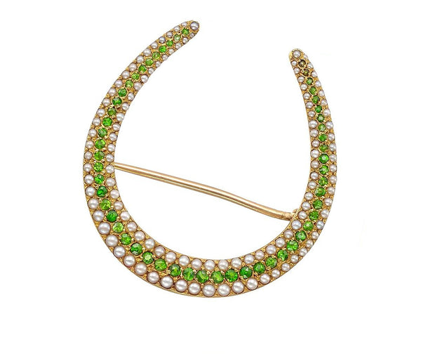 Antique 14K Gold Demantoid Garnet Pearl Horseshoe Pin