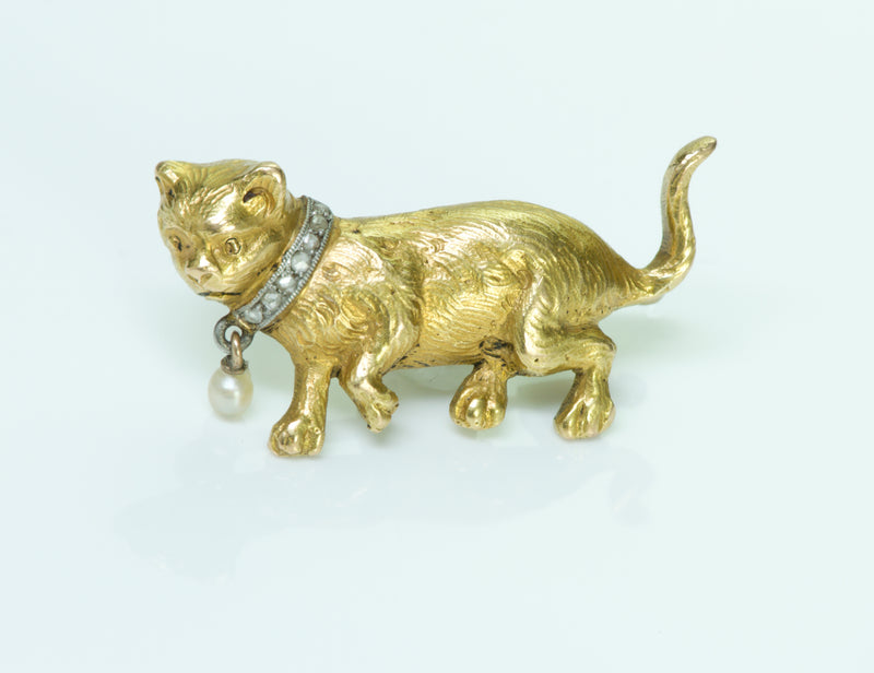 Antique Victorian Gold Diamond Pearl Cat Brooch