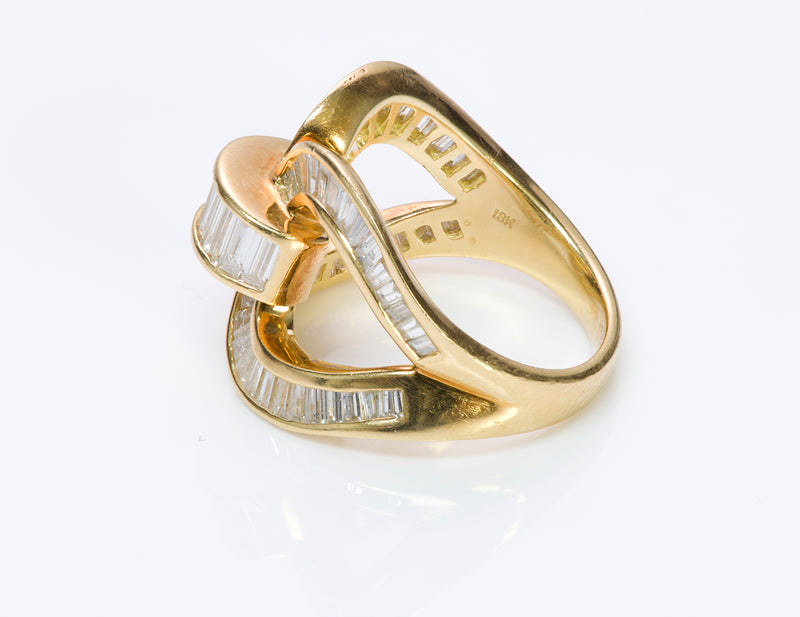 Vintage Baguette Diamond 18K Gold Ring