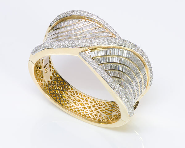 Baguette Diamond Gold Bangle Bracelet Estate