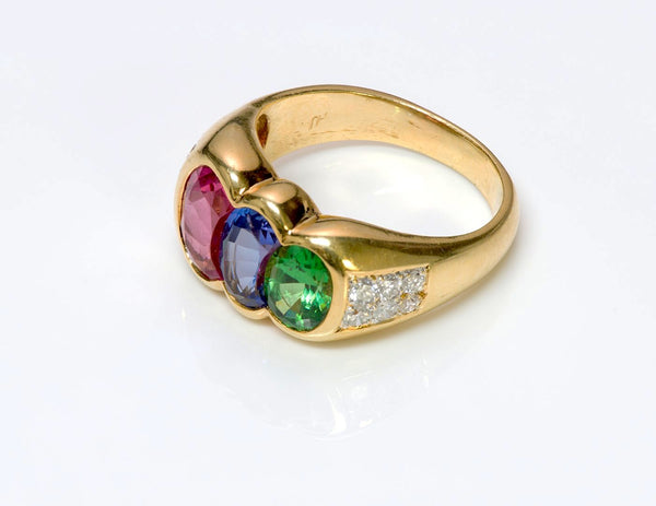 Tourmaline Tanzanite Tsavorite & Diamond 18K Gold Ring