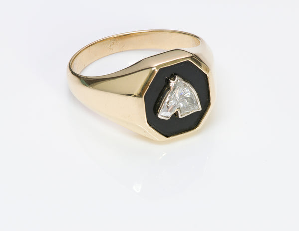 Fancy Cut Horse Diamond Onyx Gold Men's Ring 14k