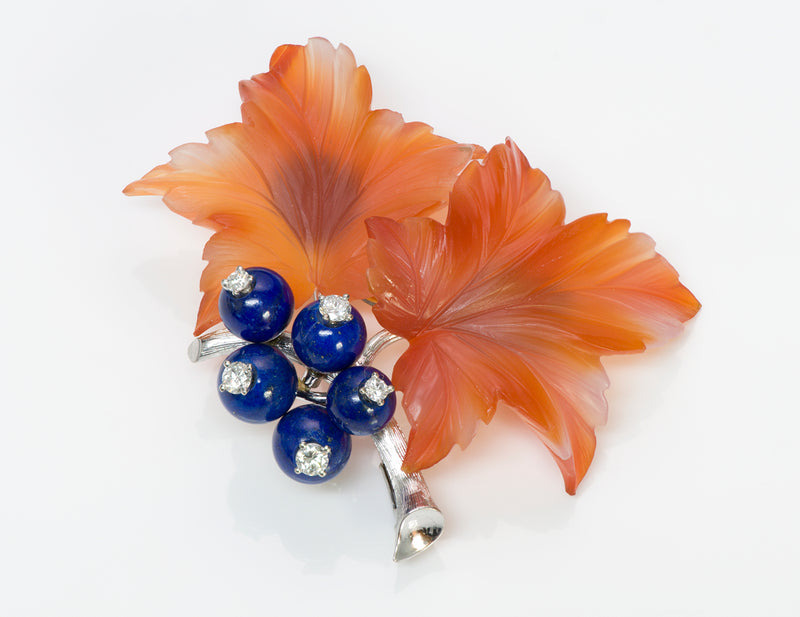 Diamond Carnelian Lapis Gold Flower Brooch