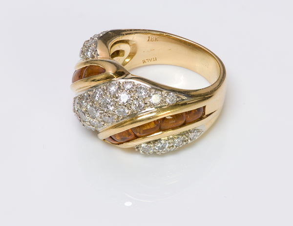 Diamond Citrine 18K Yellow Gold Ring