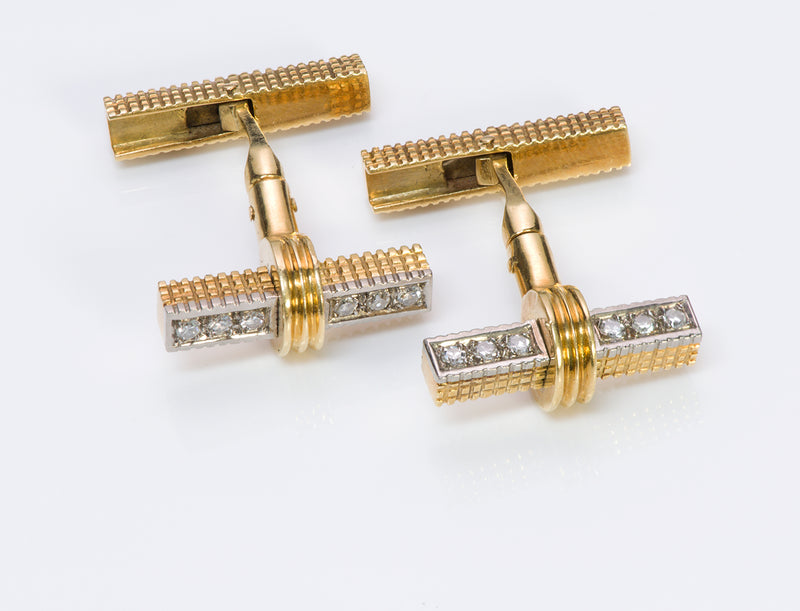 Vintage Gold Diamond Reversible Cufflinks