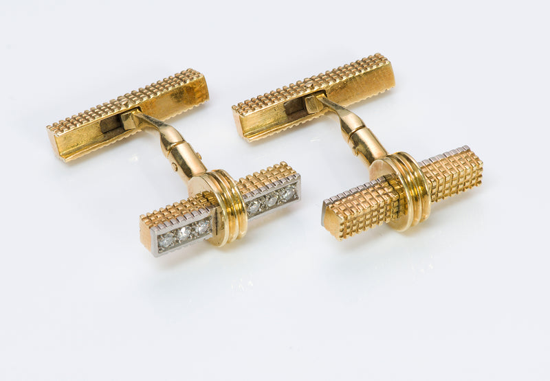 Diamond Reversible Bar Cufflinks Gold