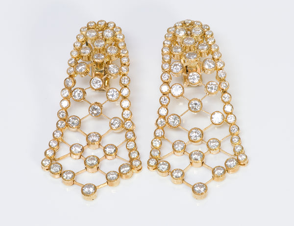 Diamond Lace Yellow Gold Flexible Earrings