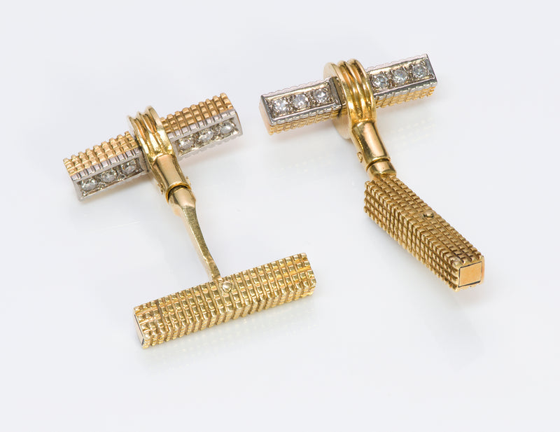 Vintage Bar Gold Diamond Reversible Cufflinks