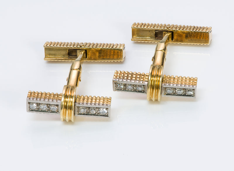 Gold Diamond Reversible Bar Cufflinks