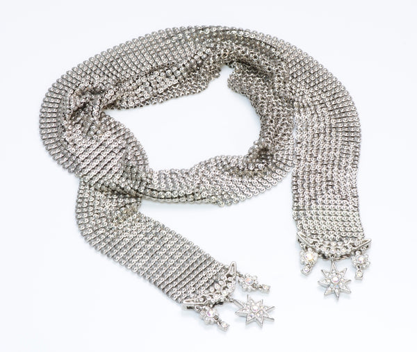 Christian Dior Metal Mesh Crystal Star Scarf Necklace