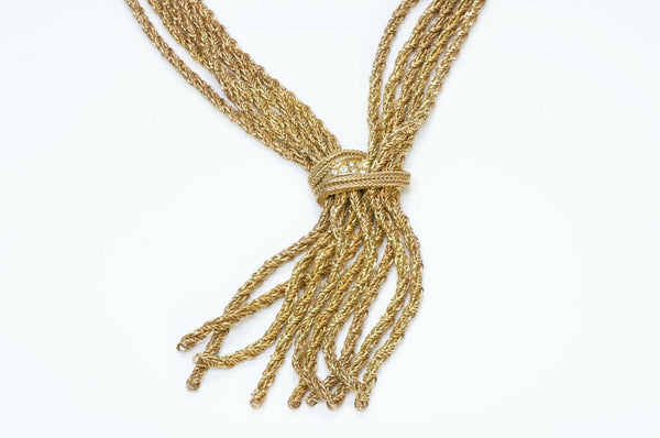 Christian Dior 1967 Germany Gold Tone Crystal Tassel Necklace1