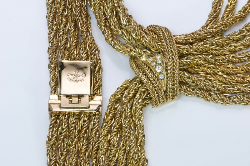 Christian Dior 1967 Germany Tone Crystal Tassel Necklace