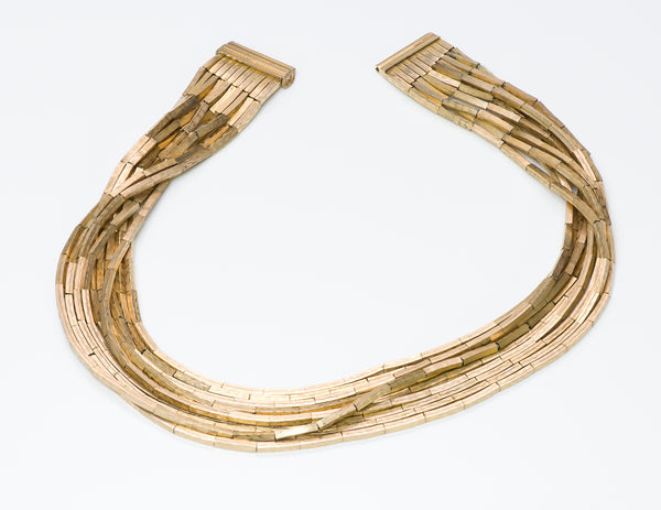 Christian Dior Gold Tone Multi Strand Collar Necklace