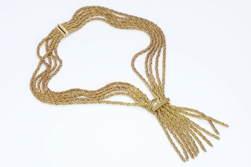 Christian Dior 1967 Germany Gold Tone Crystal Tassel Necklace