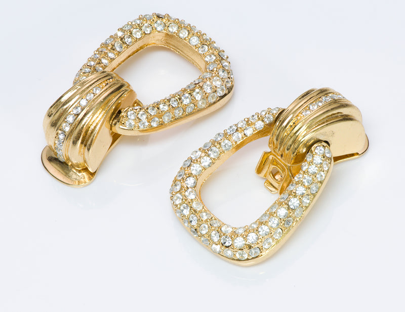 Christian Dior Gold Tone Door Knocker Crystal Earrings
