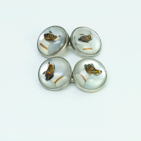 Crystal Pearl Silver Dog Cufflinks