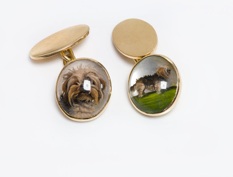 Antique 18K Gold Reverse Crystal Yorkshire Dog Cufflinks