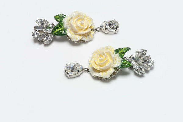 Dolce & Gabbana Enamel Crystal Flower Earrings
