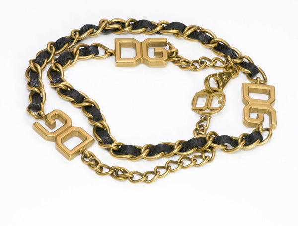 Dolce Gabbana D&G Black Leather Gold Tone Chain Belt