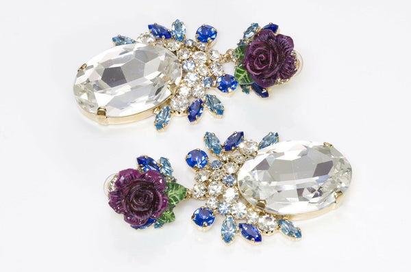Dolce & Gabbana Runway Blue Crystal Enamel Rose Earrings1