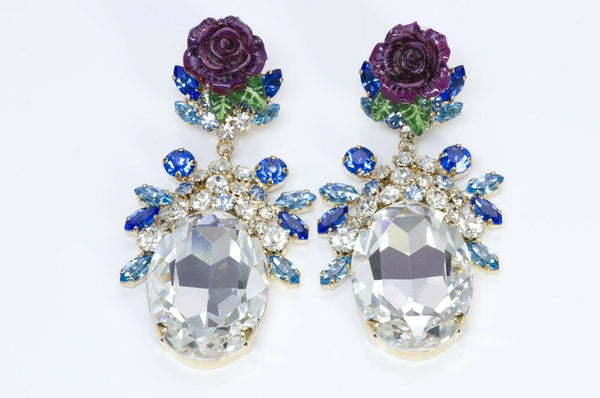 Dolce & Gabbana Runway Blue Crystal Enamel Rose Earrings