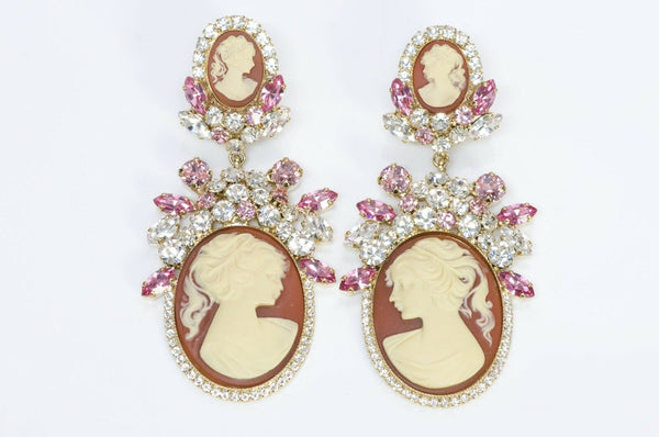 Dolce and Gabbana Victorian Style Crystal Cameo Earrings1