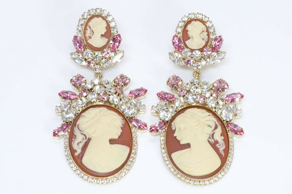 Dolce and Gabbana Victorian Style Crystal Cameo Earrings
