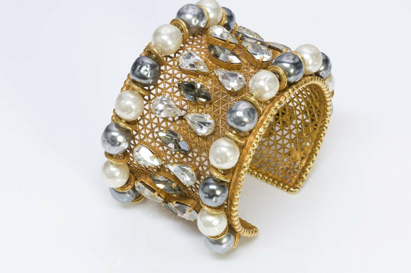 Dominique Aurientis 1980 Wide Pearl Crystal Cuff Bracelet