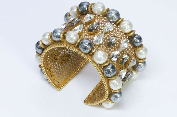 Dominique Aurientis Wide Pearl Crystal Cuff Bracelet