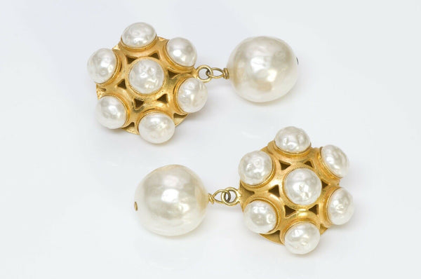 Dominique Aurientis Paris 1980's Byzantine Style Pearl Earrings