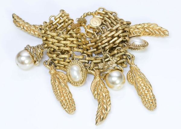 Dominique Aurientis Paris Corn Charm Pearl Chain Bracelet