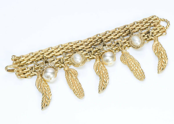 Dominique Aurientis Paris 1980's Corn Charm Pearl Chain Bracelet