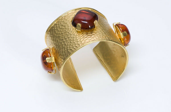 Dominique Aurientis 1980 Hammered Amber Glass Cuff Bracelet1