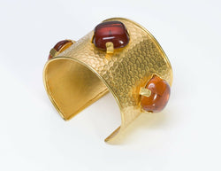 Dominique Aurientis 1980's Hammered Amber Glass Cuff Bracelet