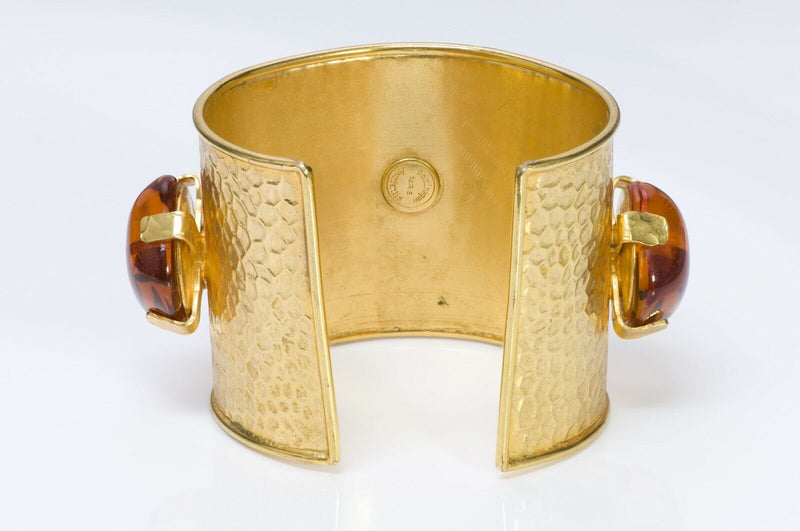Dominique Aurientis 1980's Hammered Amber Glass Cuff Bracelet3