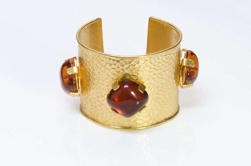 Dominique Aurientis 1980's Hammered Amber Glass Cuff Bracelet2